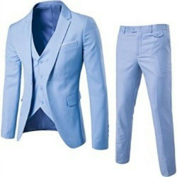 Men's Suit Light Blue 3 Pieces Jacket+Vest+Pant Slim Fit Casual Tuxedo Suit Male