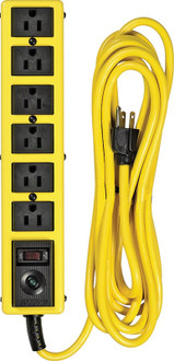 Coleman 5138 Grounded Heavy Duty Metal Surge Protector, 6 Outlet, 125 V, 15 A, 1875 W