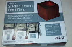 Set Of 4 RICARDS Mahogany Red Stackable Wood Bed Lifters