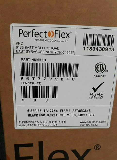 500 FT RG6 Cable Satellite Black Coaxial 3GHz P6T77VVBFC PPC