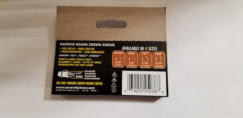 "Arrow T25 Round Crown Staples 3/8"" 10mm Fastener Wires & Cables Box of 1000 #256"