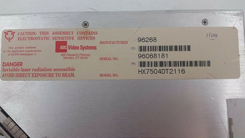 ADC Video Systems HX7504DT2116 Fiber Optic Receiver