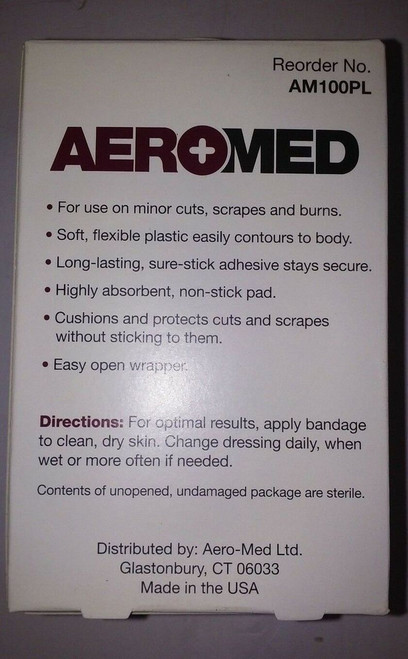 "Aeromed AM100PL Plastic Bandages 3/4"" X 3"" 100 Count Fast Shipping!!!"