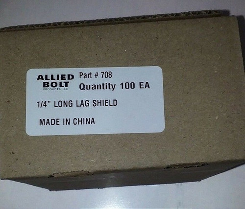 "Allied Bolt - PART# 708 1/4"" LONG LAG SHIELD Qty. 100"