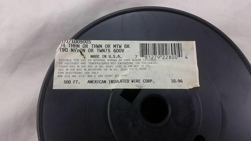 AMERICAN INSULATED THHN 14 AWG GAUGE STRANDED COPPER WIRE CABLE 500' BLACK