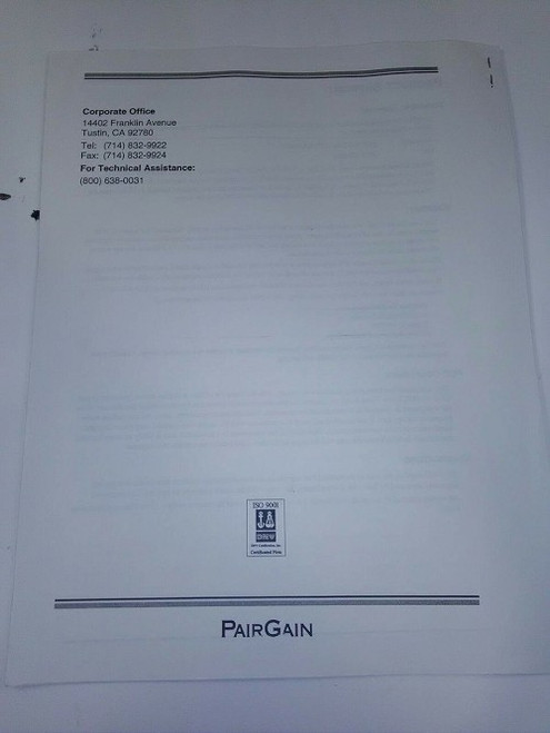 Central Office Terminal Line Unit manual PG-FLEX-24