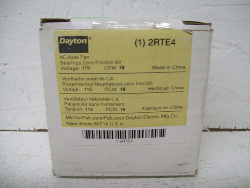 Dayton 2RTE4 Axial Fan, 2 3/8in Square, 115V, 18cfm