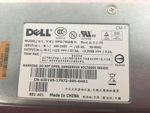 Dell PowerEdge Server Power Supply NPS-700AB A 700 Watts Fast Shipping!!!