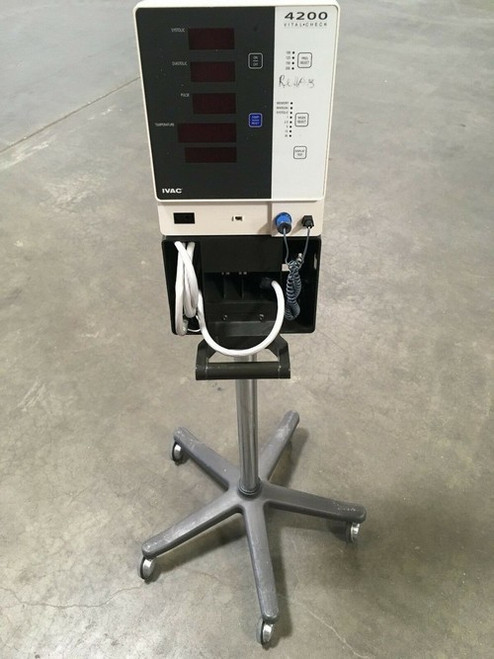 IVAC 4200 Vital Check Monitor W/ Stand, Cuff, and Probe