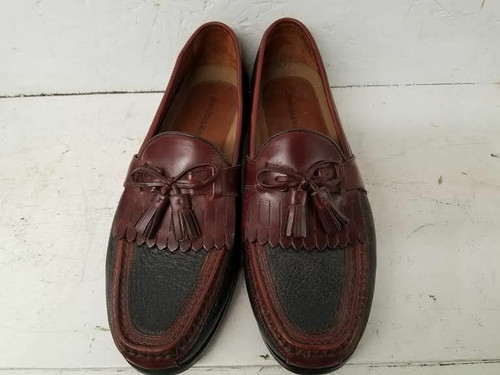Johnston & Murphy 020-0592 Black Leather Kiltie Tassel Dress Loafers Mens 10.5M