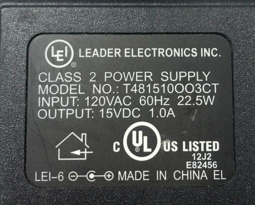 Leader Electronics Inc. PS-1.75-15D(15VOLT) Power Supply Cord