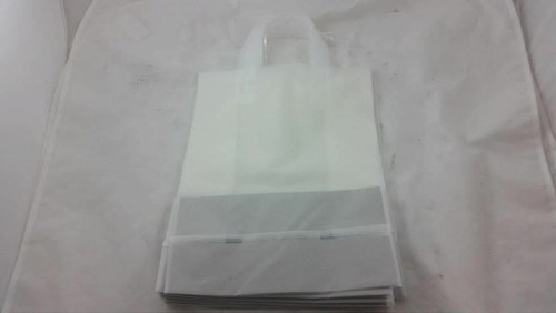 Lot of 10 Medium Clear Plastic Frosted Shopping Gift Bags Fast Shipping!!!