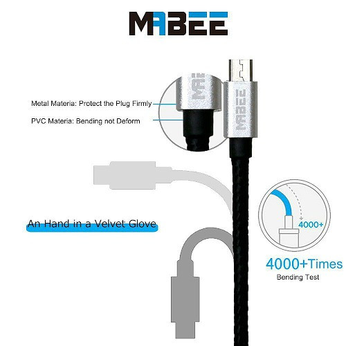 Mabee 4-Pack Heavy Duty Sync/Charge cable For Most Android Phones 3ft/1m