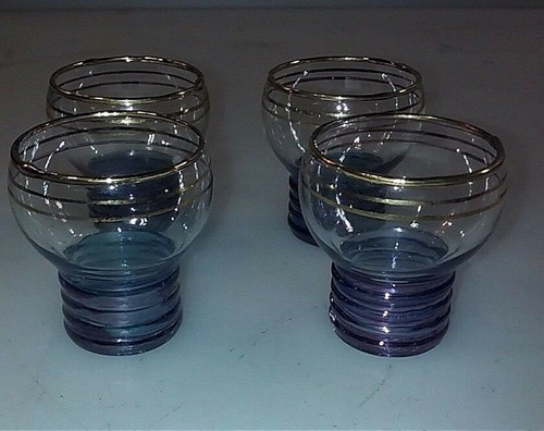 Set of 4 Bottle Cap Blue and Gold Shot Glasses