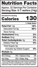 Cacao Butter, 1lb, Organic - Nutrition Facts