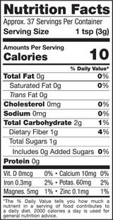 Black Maca Powder, 4oz, Organic, Raw - Nutrition Facts
