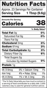 Beet Powder, 8oz, Organic - Nutrition Facts