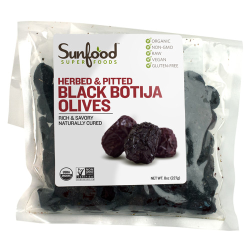 Olives, Black Botija, Herbed, Pitted, 8oz, Organic, Raw - Front