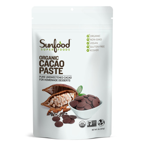 Sunfood Cacao Paste, 1lb, Organic Raw, Front