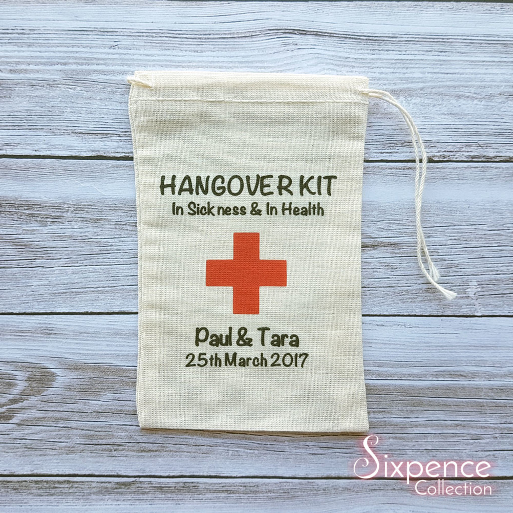Personalised DIY Hangover In Sickness & In Health favor bag, 4x6 muslin bag