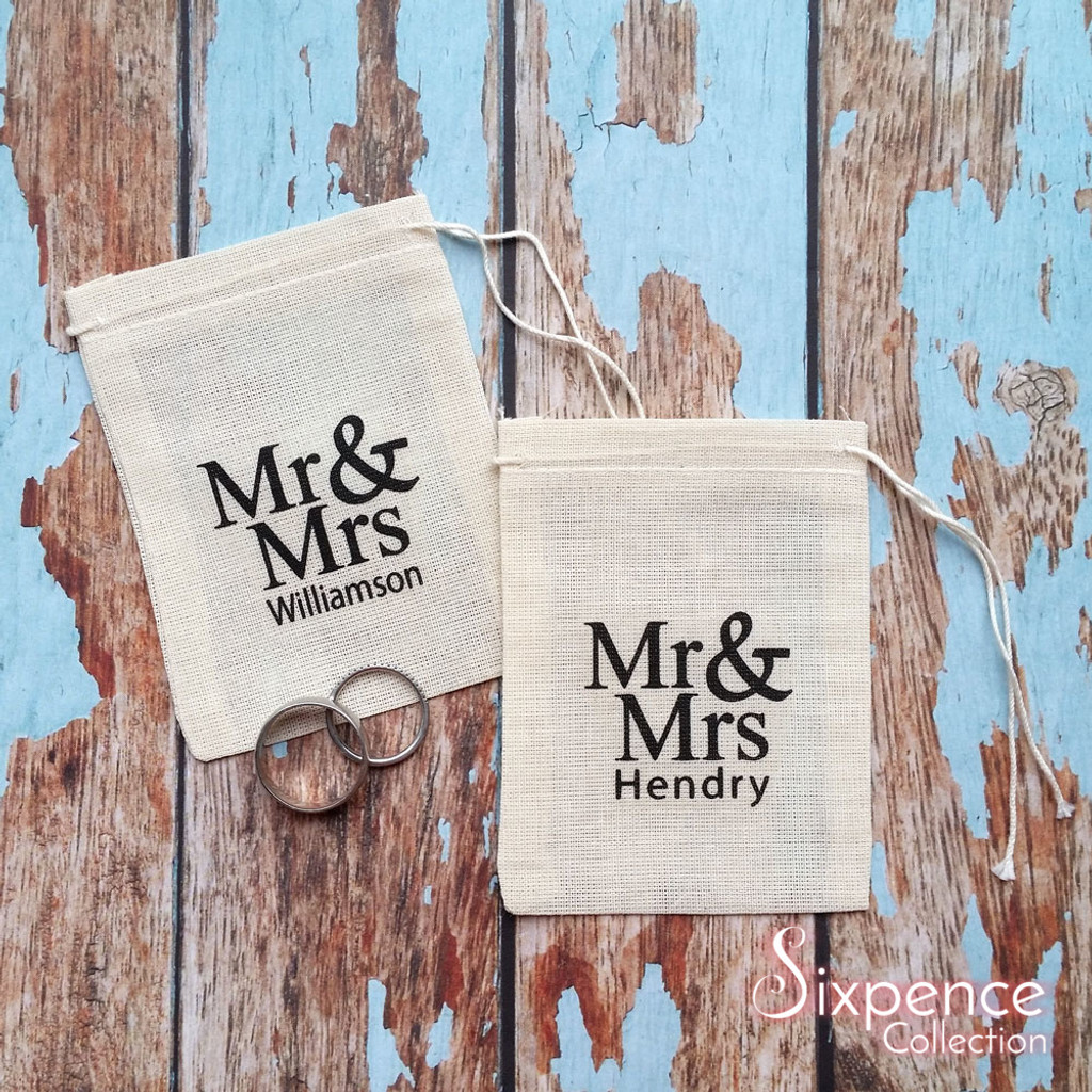 Wedding ring bag with personalised last name