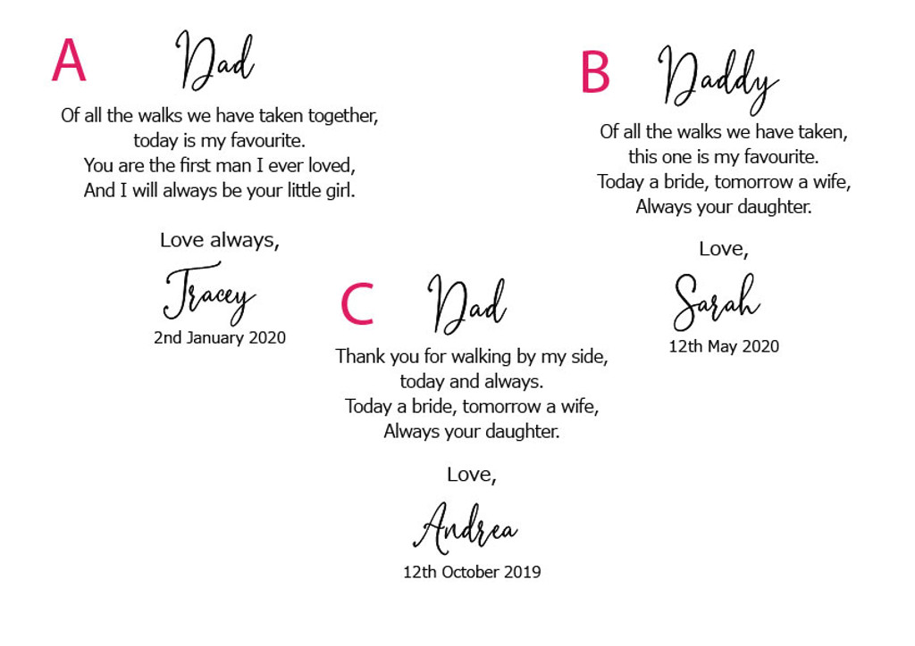 Father of the Bride Printed Wedding Hanky. 3 poem options, includes free gift envelope