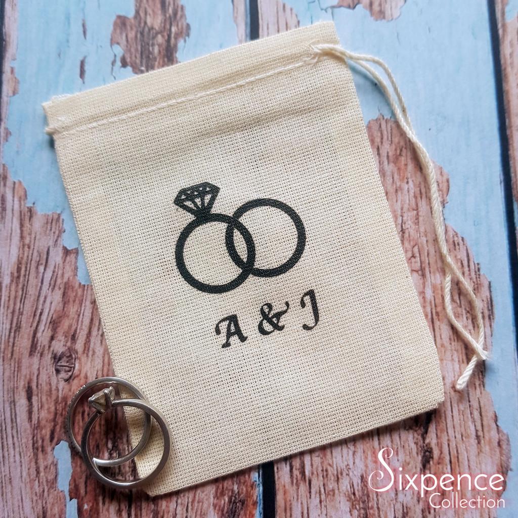Personalised wedding ring bag - initials