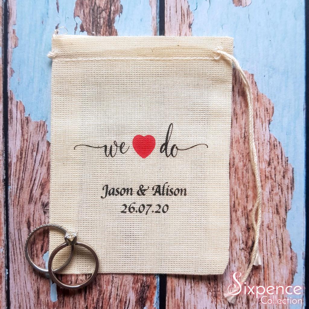 Personalised we do wedding rings bag