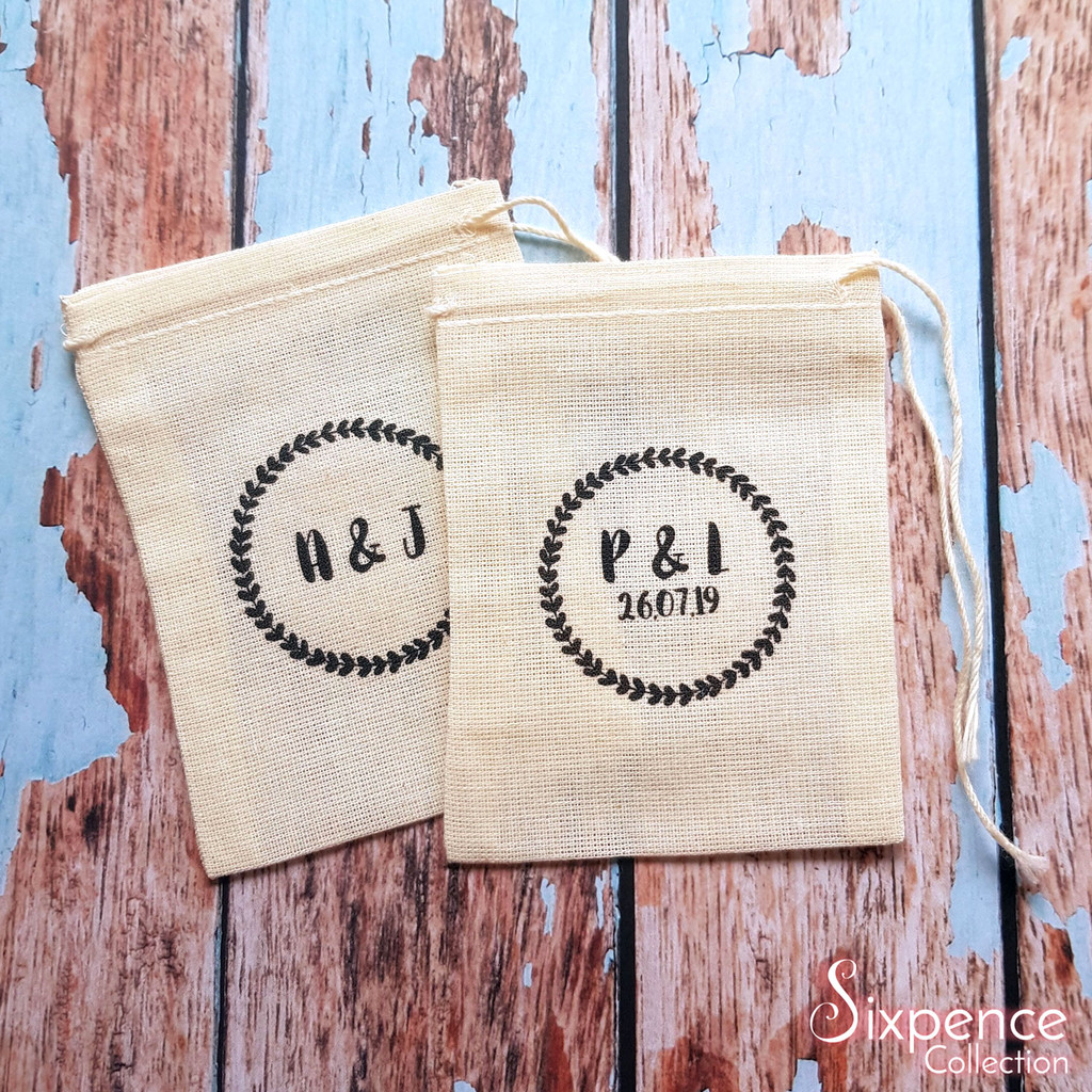 Rustic wreath personalised wedding rings bag