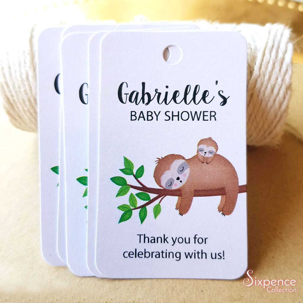Sloth Baby Shower Tags