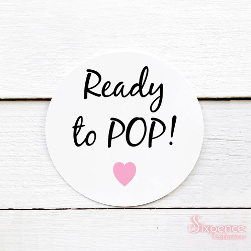 Ready to Pop! Baby Shower Matte White Stickers