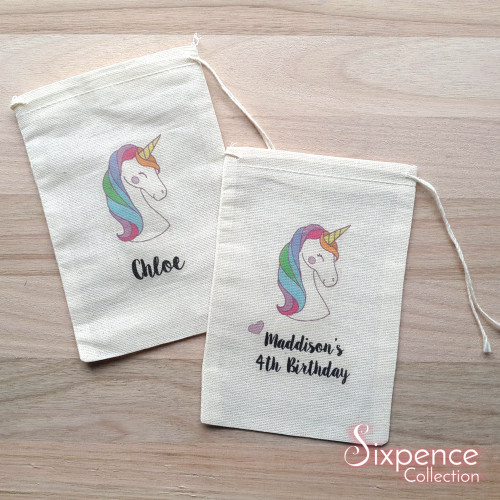 Personalized Unicorn Party favour bags