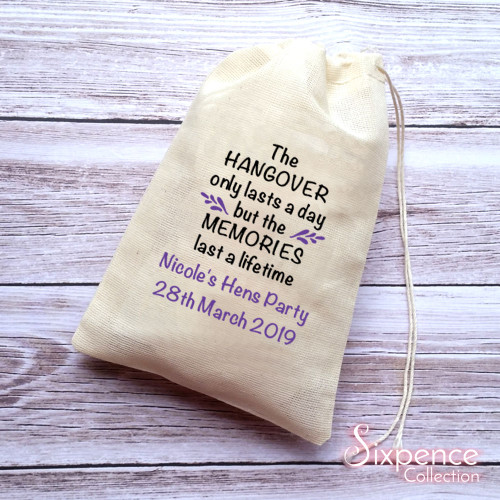 Hangover Kit Memories Personalised Muslin Favour Bags