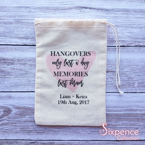 Heart hangover memories personalised wedding favour bags