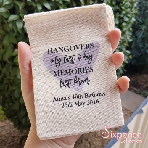 Purple heart hangover memories personalised birthday favour bags