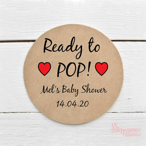 Ready to Pop! Personalised Baby Shower Kraft Brown Stickers