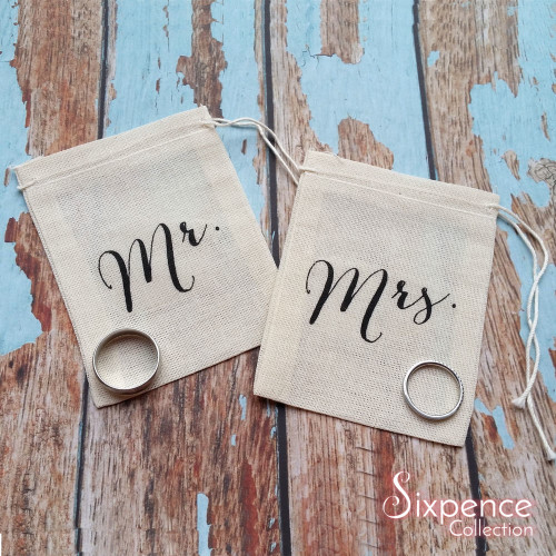 Mr and Mrs set of 2 muslin wedding ring bags