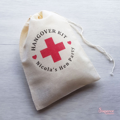 Hens Night Hangover Kit Coloured Cross Muslin Favor Bags