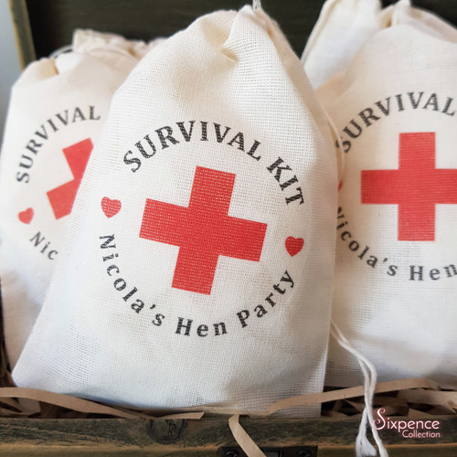 Survival Kit Personalised Muslin Favour Bags