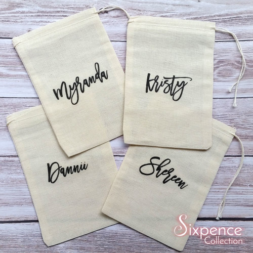 Personalised name favour muslin bag, Wedding favour bag, Bridesmaid gift, Christmas gift bag