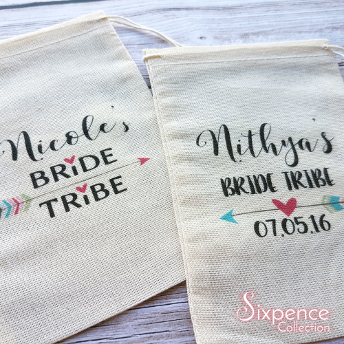 Bride Tribe Muslin Favour Party Bags