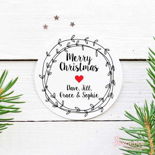 Christmas wreath personalised stickers