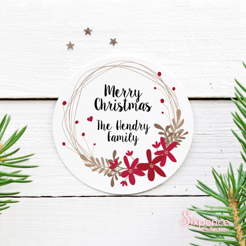 Christmas ruby wreath personalised stickers