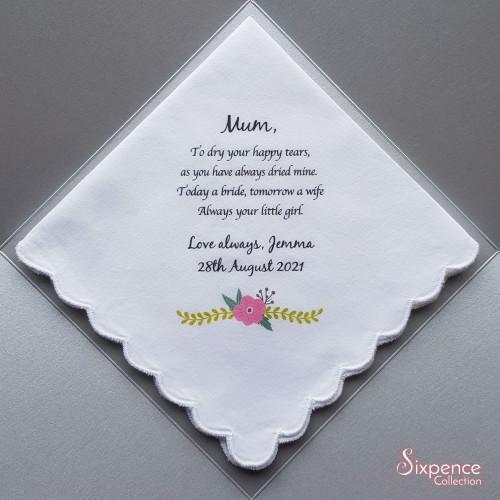 Mother of the Bride Printed Wedding Handkerchief, Pink Flower