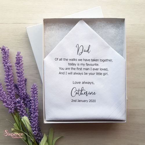 Father of the Bride Printed Wedding Hanky. 3 poem options, includes free gift box