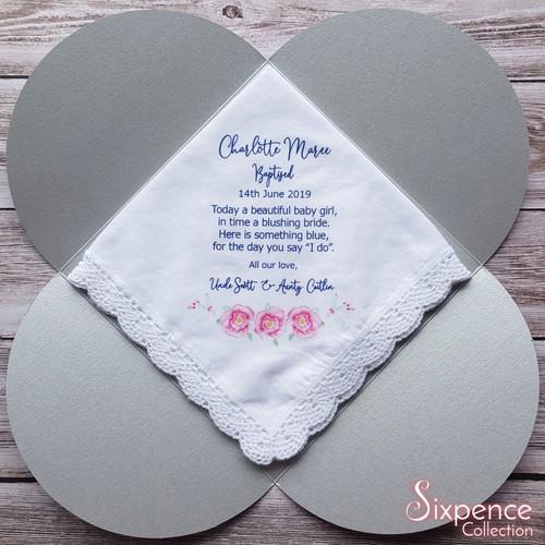 Baptism girl gift, Christening gift, something blue keepsake. Handkerchief with gift envelope.