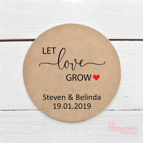 Let love grow personalised kraft brown or matte white sticker labels