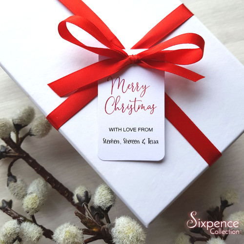 Personalised Merry Christmas Gift Tags - White or Kraft Brown available