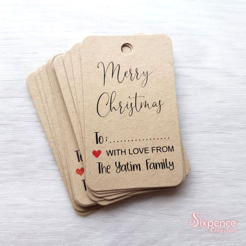 Personalised Christmas Gift Tags - White or Kraft Brown available