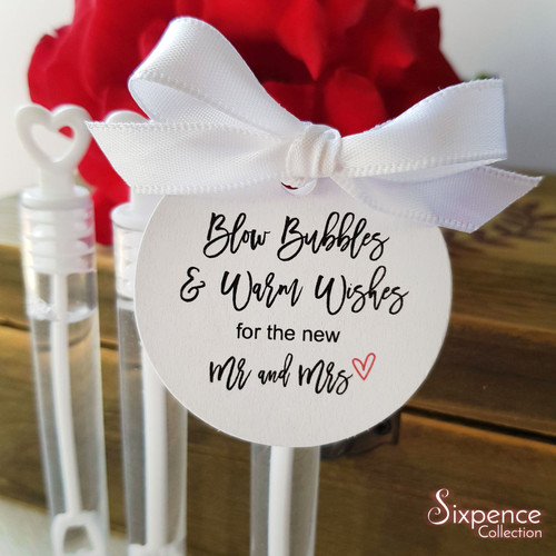 Wedding Bubbles Tags White or Kraft Brown 45mm